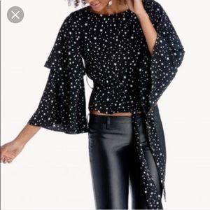 J.O.A. Black Star Ruffle Sleeve Top / Size Small